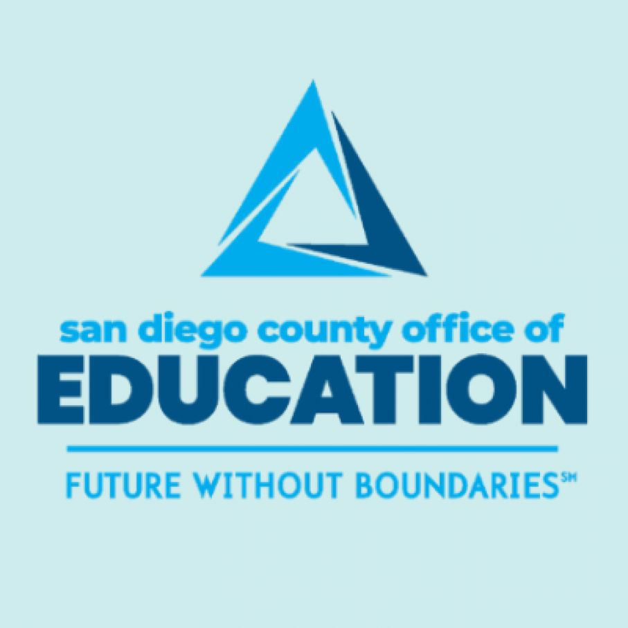 "This is an image of the logo for the San Diego County Office of Education. Their slogan is ""Future without Boundaries."""